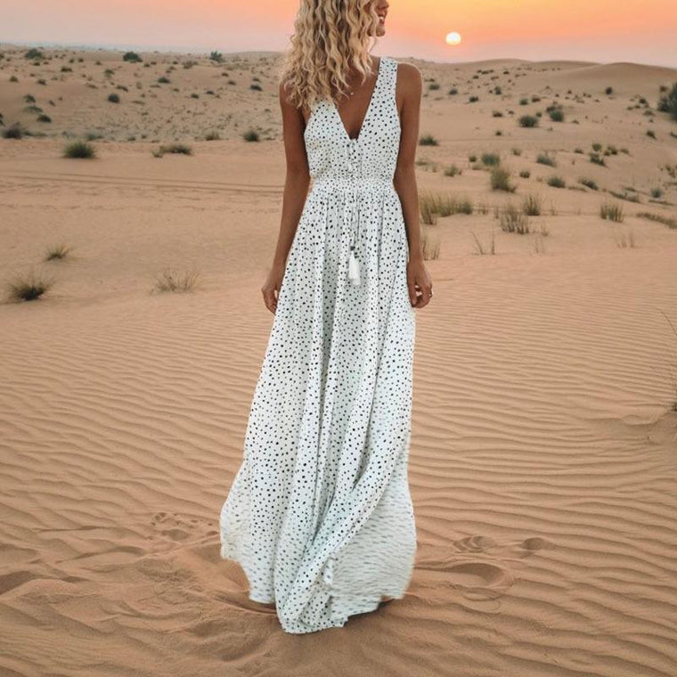 Holiday Beach Polka Dot Bohemian Dress
