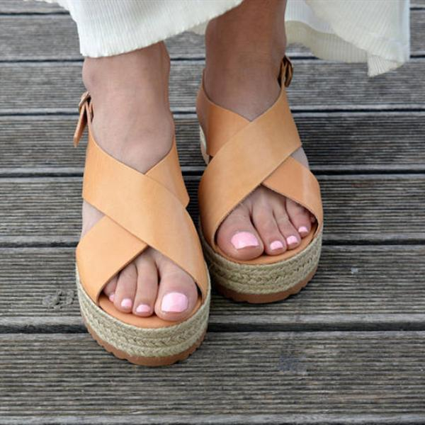 Leather Flatform Sandals  Criss Cross Sandals,