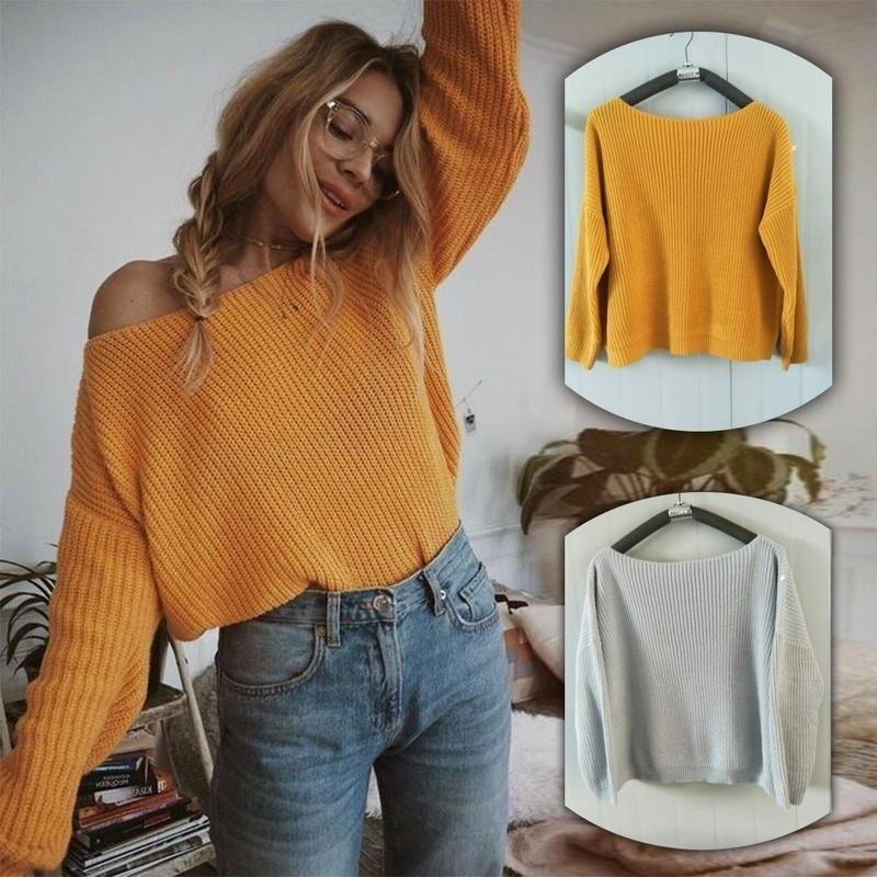 Off Shoulder Knitted Sweater Women Autumn Batwing Sleeve Jumper Knitted Pullover Tops Sweater