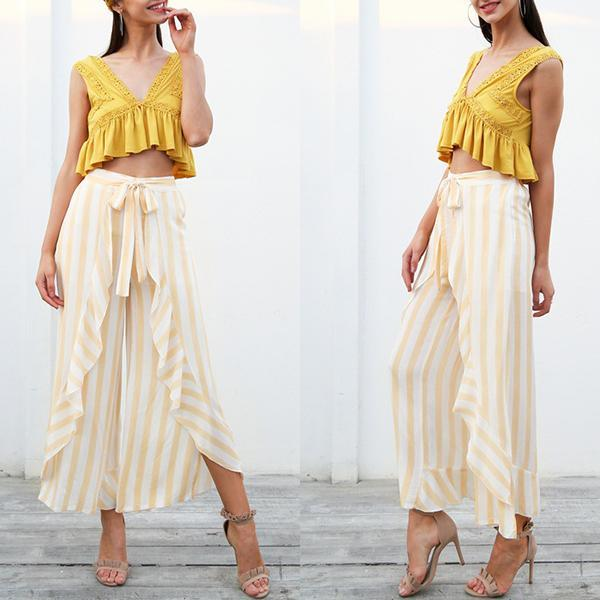 Stripe Ruffle Bottom Sash High Waist Wide Leg Pants