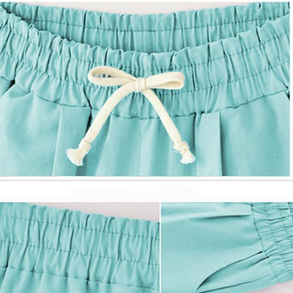 Loose Lace Up Elastic Waistband Long Pant