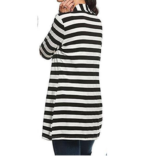 Striped Printed Patchwork Knitted Cardigan