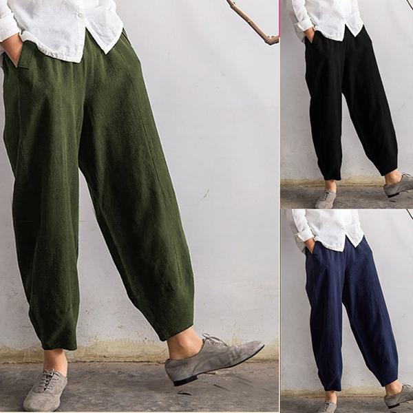 Vintage Elastic Waist Solid Color Pants with Pocket