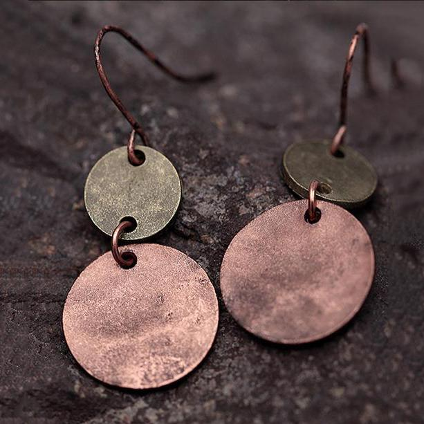 Womens Vintage Classical Alloy Round Earrings