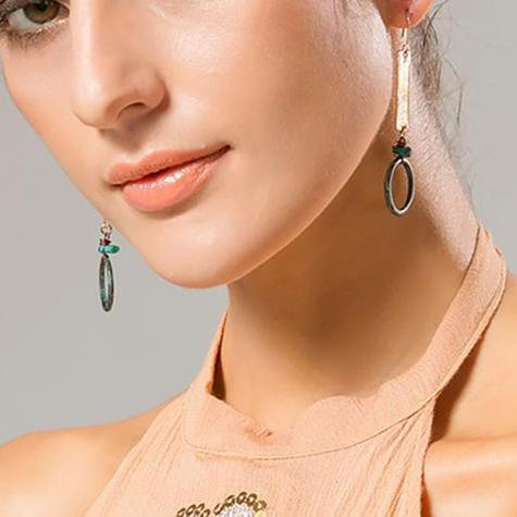 Classical Elegant Turquoise Alloy Drop Earrings