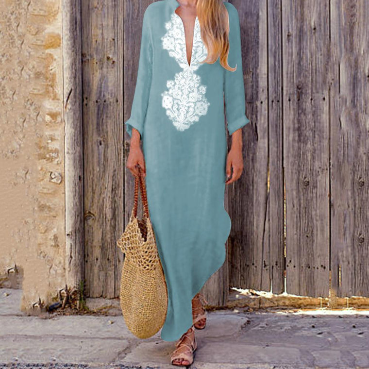 Fashion Casual Cotton Linen V-Neck Maxi Dresses