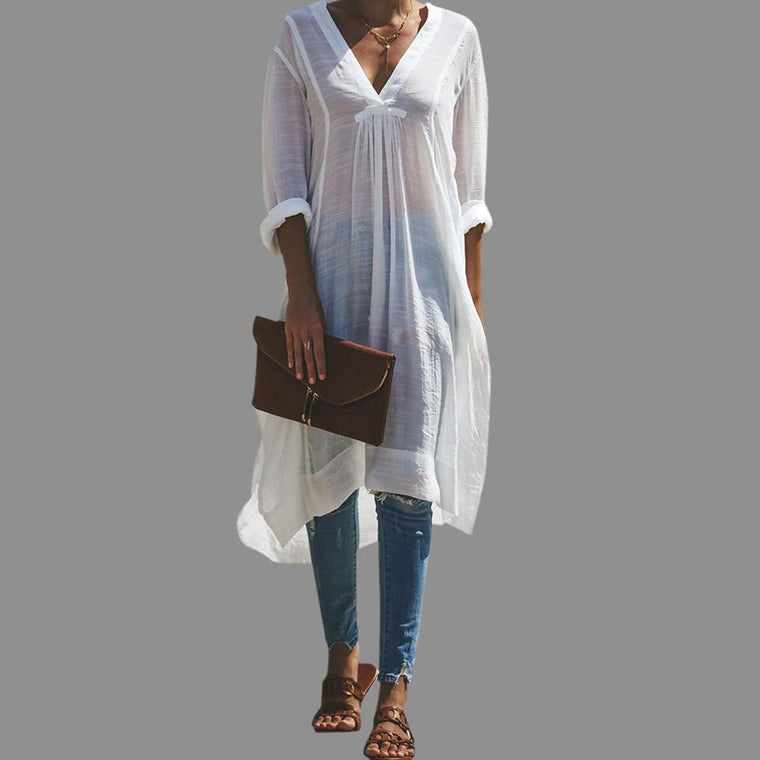 Casual Loose V-neck Side Split Shirt Dress