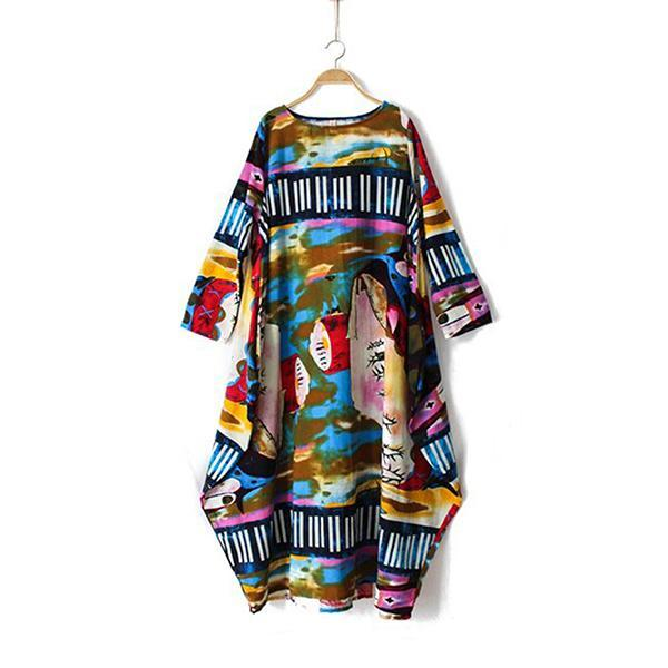 Plus Size Printed Linen 3/4 Sleeve Abstract Dress
