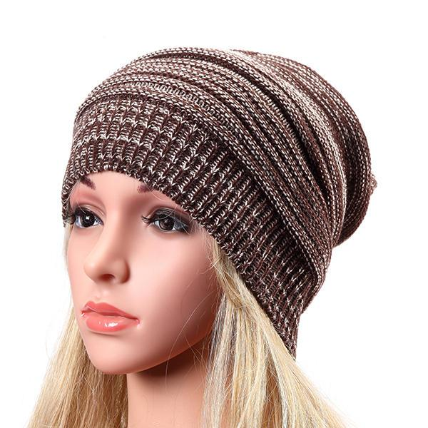 Women Fashion Knitted Woolen Stripe Beanie Hat Casual Foldable Warm Head Cap