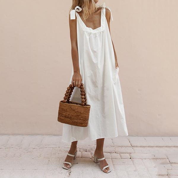 Solid Color Loose Lace-Up Dress