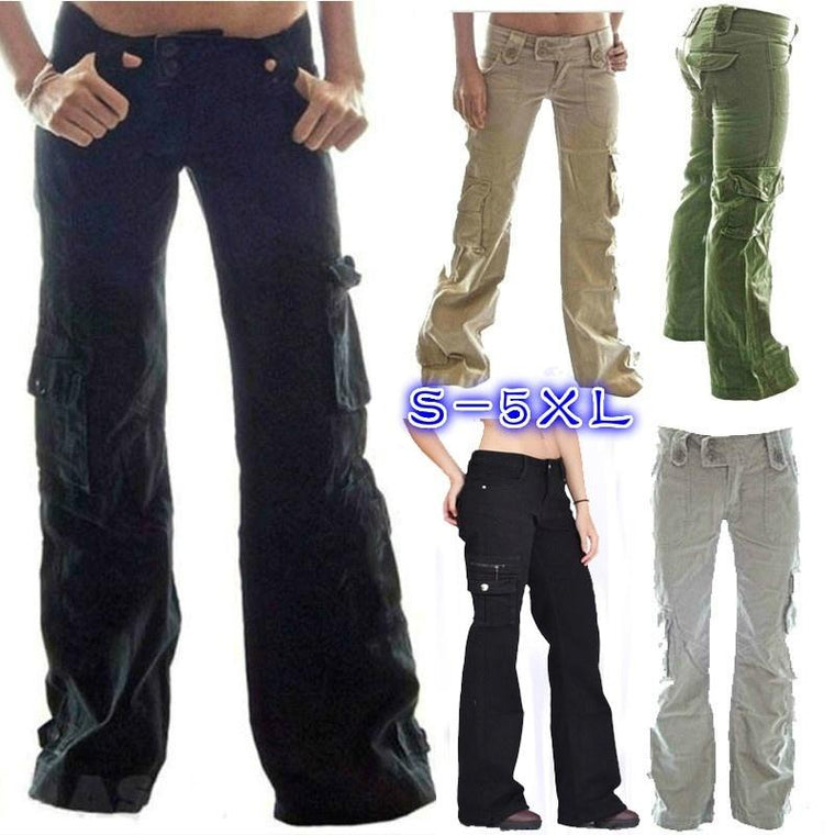 Plus Size Solid Color Pockets Cargo Pants Straight Trousers