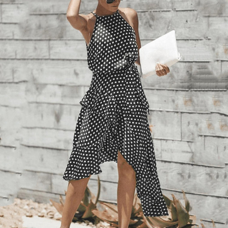 Black Polka Dot Spaghetti Strap Swing Midi Dress