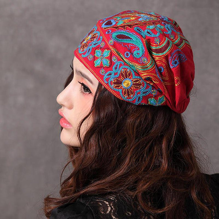 Women Navy Vintage Beanie Caps Ethnic Embroidery Flowers Slouch Skullcap Cotton Hat