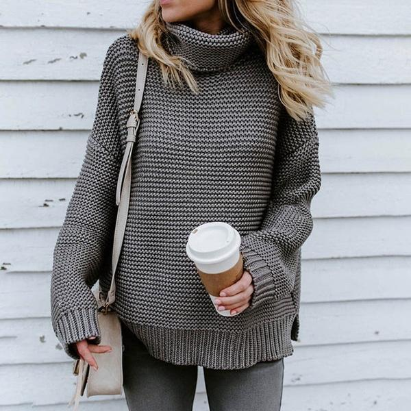 Women Casual Loose Turtleneck Pullover Sweater