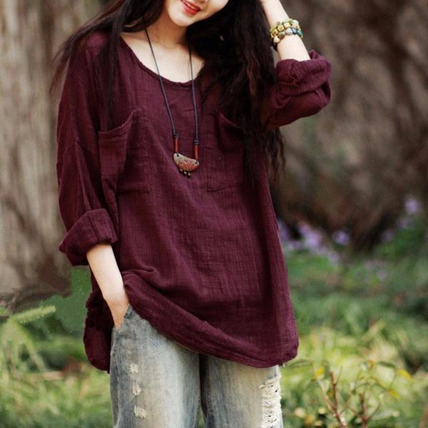 Plus Size Vintage Cotton Loose Shirt