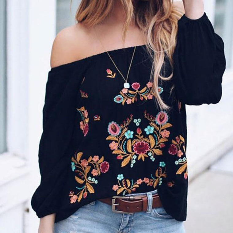 One-Shoulder Printing Loose Blouse