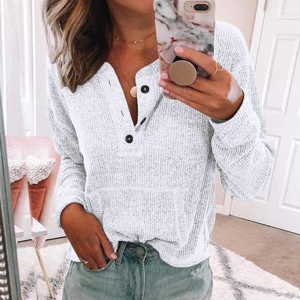 Womens Casual Long Sleeve Buttoned Pocket Sweatshirt