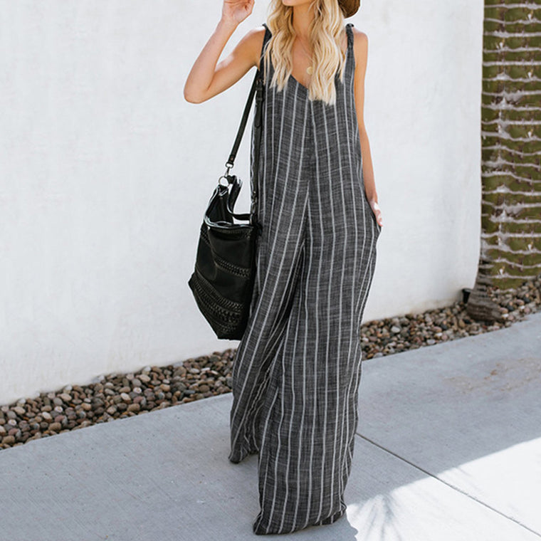 Casual Cotton Pockets Striped Jumpsuits