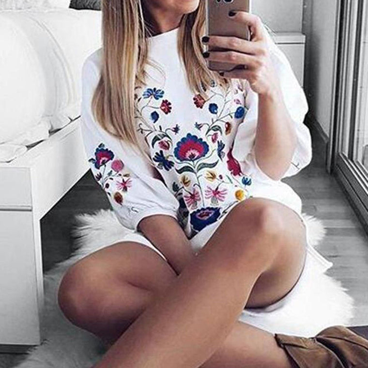 Casual Balloon Sleeve Floral Embroidered Mini Dress