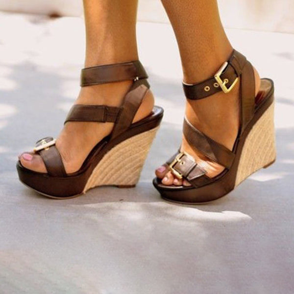 Casual Comfort Open Toe Wedge Adjustable Buckle Sandals