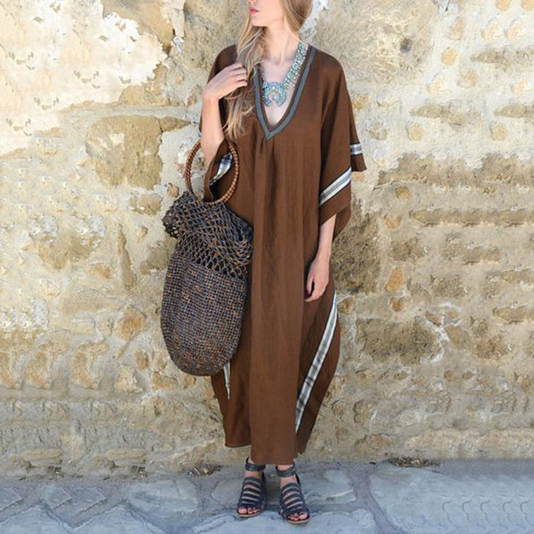 Loose Bohemian V-neck Bat Sleeve Long Dress