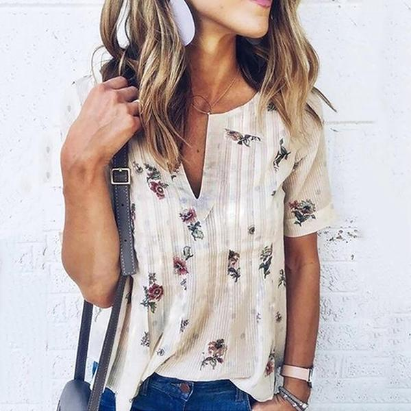 Printing V Neck Short Sleeve Blouse