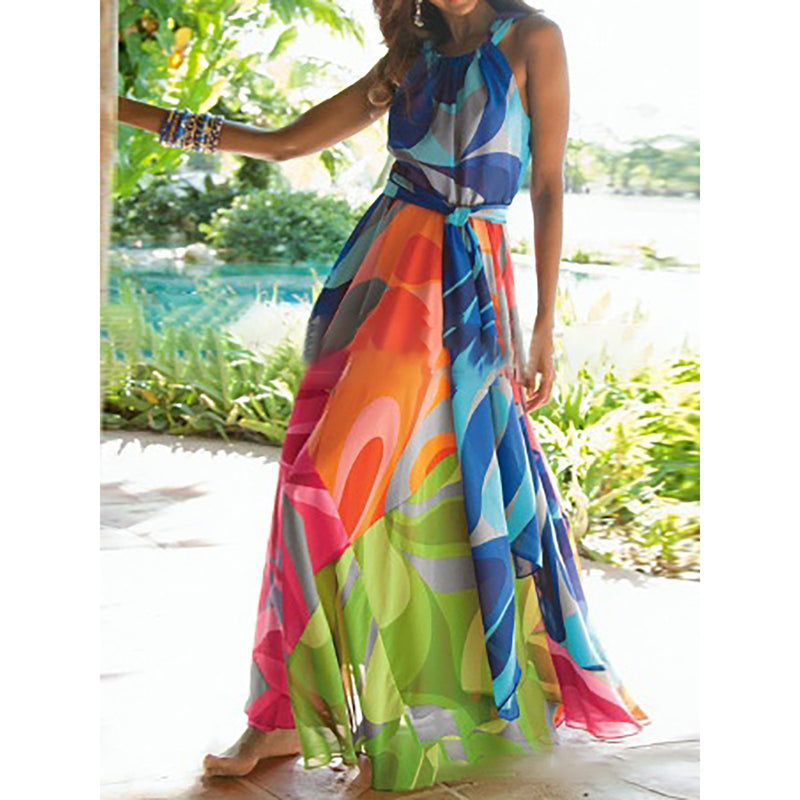 Multicolor Abstract Printed Halter Boho Dress