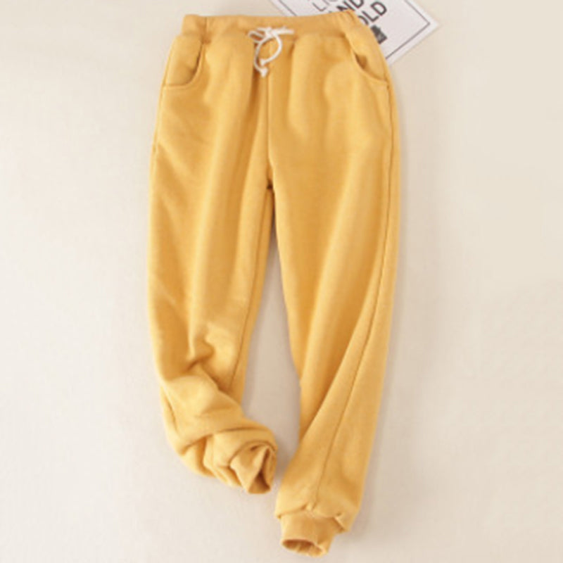 Women Loose Warm Solid Fleeced Cotton Pants