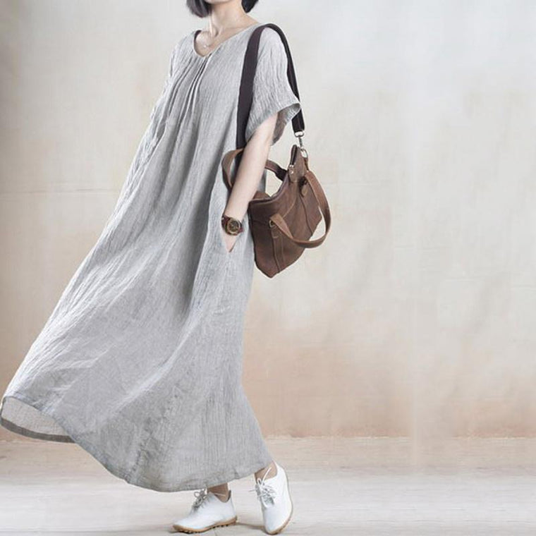 Casual Loose Plain Linen Maxi Dress