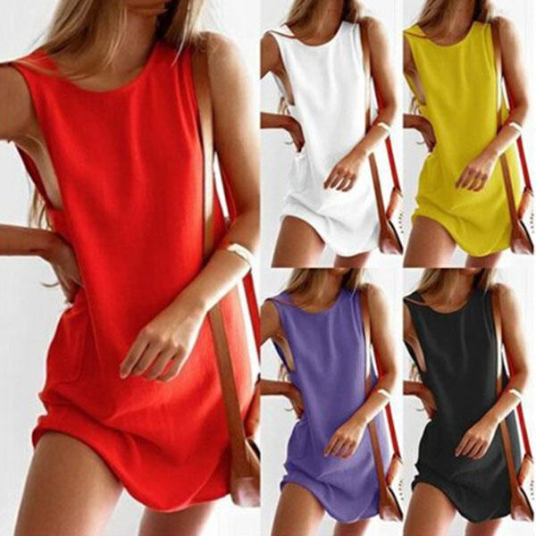 Plus Size Casual Round Neck Plain Sleeveless Dresses