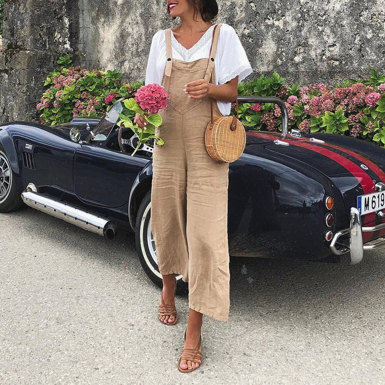 Casual Linen Wide Leg Jumpsuit