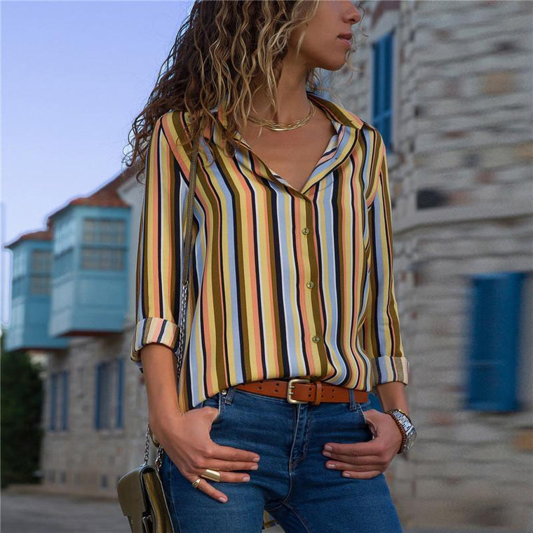 Casual Striped V-Collar Chiffon Long Sleeved Shirt
