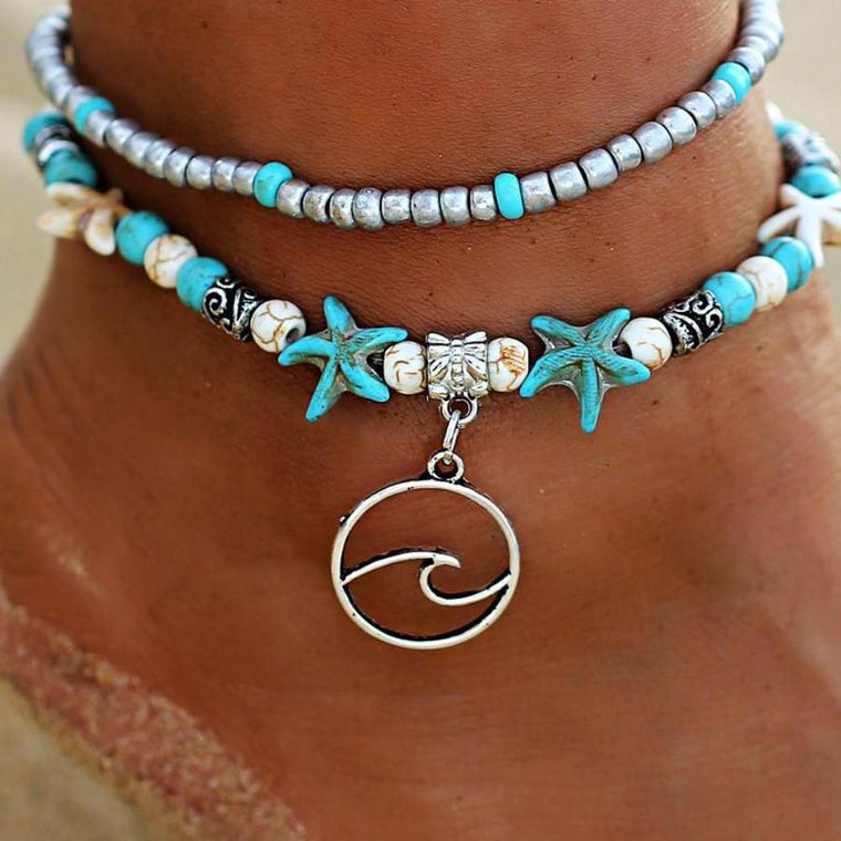 Beach Wave Pendant Double Anklet