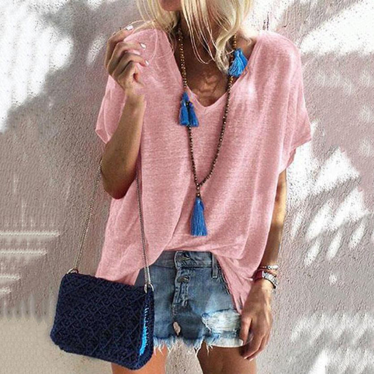 Loose Sweet Short Sleeve V Neck Blouses