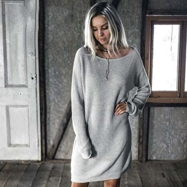 Fleece Casual Vintage Knitted Sweater Dress