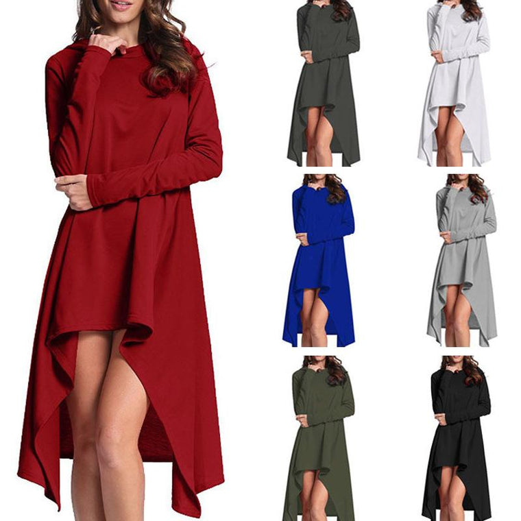 Women Plus Size Solid Color Loose Irregular Dress