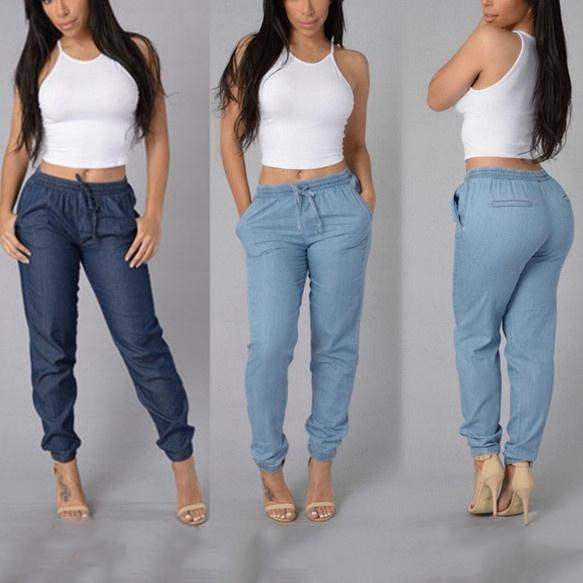 Womens Casual Pants Fashion Sexy High Waist Jeans