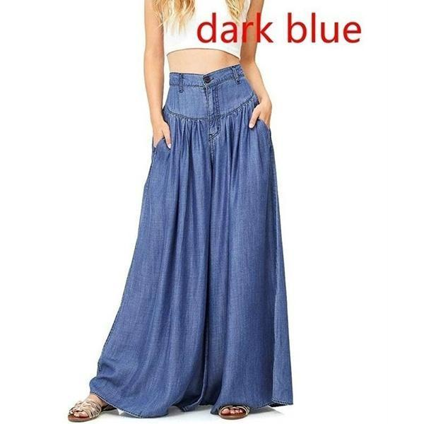 Fashion High Waist Soild Loose Wide Leg Denim Pants