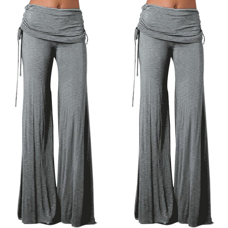 Women High Waist Wide Leg Flared Trouser