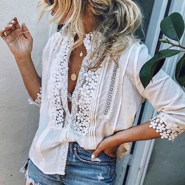 High Neck Single Breasted Blouses
