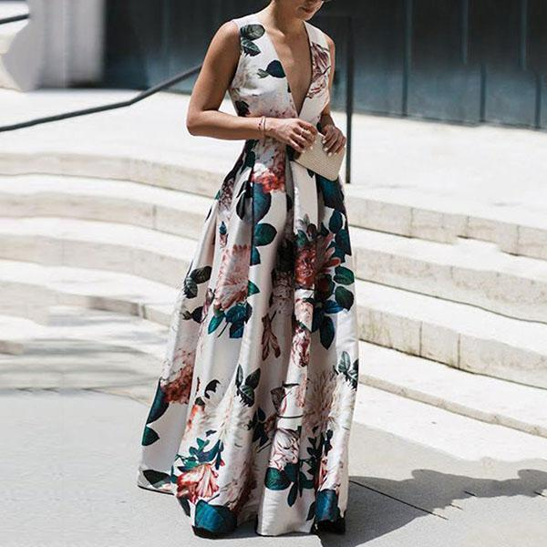 Elegant Flower Printing V Neck Long Dress