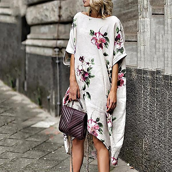 Casual Flower Printing Loose Dress