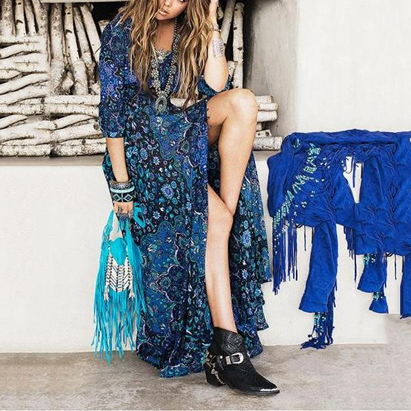 Bohemian Style Printing Long Dress
