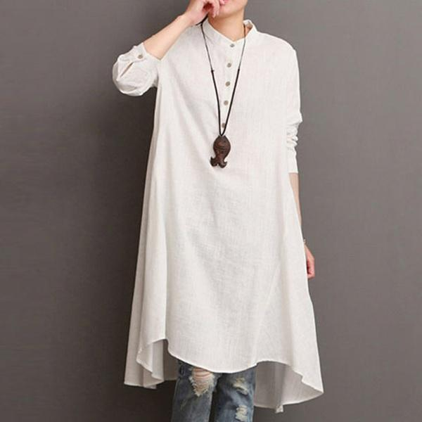 Women Plus Size O-Neck Button Long Sleeve Asymmetric Shirt Dress