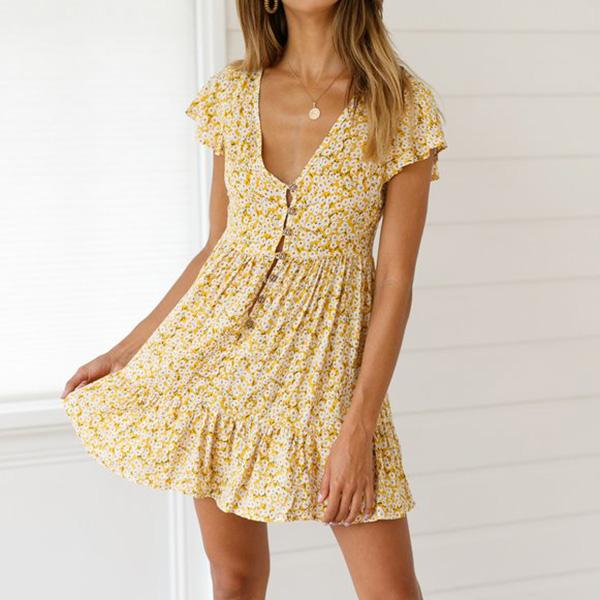 Bohemian Style V Neck Flower Printing Mini Dress
