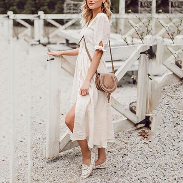 Elegant Casual V Neck Dress