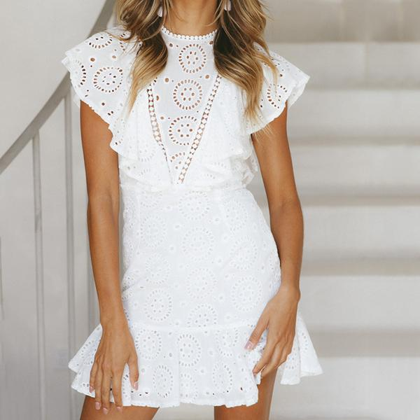 Elegant Lace Openwork Mini Dress