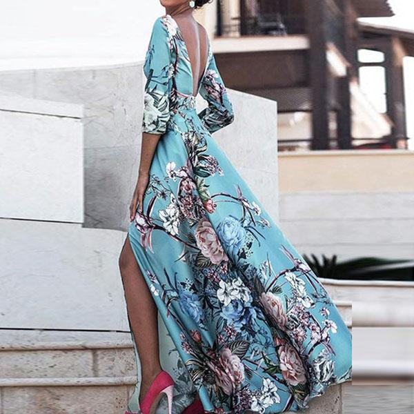 Elegant Flower Printing Long Dress