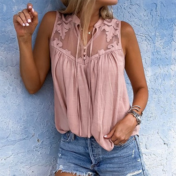 Fashion Sleeveless Lace Blouse
