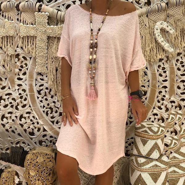 Plus Size Solid Color Casual Loose Dresses